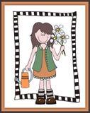 Little cartoon girl gardener in frame. Scrapbooking style royalty free illustration