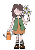 Little cartoon girl gardener holding flowers. And watering can stock illustration