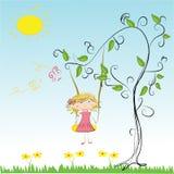 little Cartoon girl swinging Stock Photography