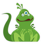 Little cartoon green monster Royalty Free Stock Images