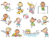 Set of cartoon kids outdoor activities, sports and games royalty free illustration