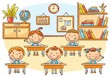 Little cartoon kids in the classroom at the lesson. No gradients Stock Image