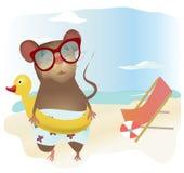 Little Cartoon Mouse in Swimsuit Stock Photo