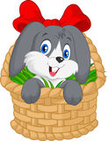 Little cartoon rabbit sitting in a bucket Royalty Free Stock Photo