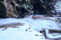 Little cascade with ice and icicles Stock Photo
