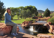 A Little Cascade on a Sunny Sedona Day Royalty Free Stock Images
