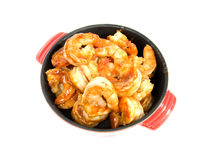 Little casserole with shrimp Stock Images