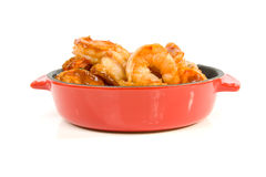 Little casserole with shrimp Royalty Free Stock Image