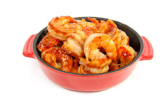 Little casserole with shrimp Stock Photography