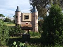 Little Castle and a well in Clayton NM royalty free stock photography