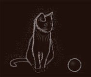 Little cat with ball, black and white, vector Stock Images