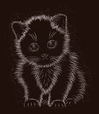 Little cat black and white, vector Royalty Free Stock Photo