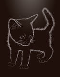 Little cat, black and white, vector Royalty Free Stock Photos