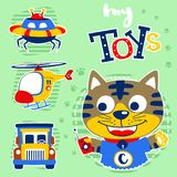 Little cat with his toys stock illustration