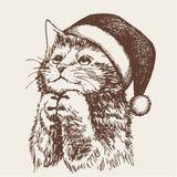 Little cat, kitten with christmas santa hat. Freehand sketch illustration of little cat, kitten with christmas santa hat, doodle hand drawn Royalty Free Stock Images