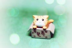 Little cute plastic cat in a box. Cute little plastic cat in a box stock photos