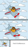 Little Cat puzzle. Educational game for preschool kids - finding differences - cartoon illustration of a cat in airplane with a solution Stock Images