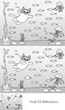 Little cat puzzle. Educational game for preschool kids - finding 10 differences - cartoon illustration of little cat diving with a solution in black and white Royalty Free Stock Images