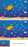 Little cat puzzle. Educational game for preschool kids - finding 10 differences - cartoon illustration of little cat diving with a solution Royalty Free Stock Photo