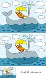 Little cat puzzle. Educational game for preschool kids - finding differences - cartoon illustration of little cat on an whale with a solution Royalty Free Stock Image