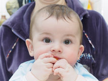 Little caucasian baby boy eating dried apricot Royalty Free Stock Photo