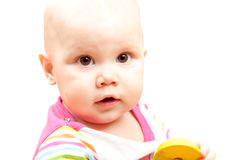 Little Caucasian baby portrait on white Stock Image