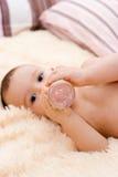 Little caucasian boy drinking from the bottle Stock Photo