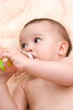Little caucasian boy drinking from the bottle Royalty Free Stock Image