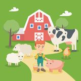 Little caucasian boy with farm animals. Royalty Free Stock Images