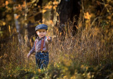 Free Little Caucasian Boy Playing In Springtime Landscape Stock Photo - 66397150