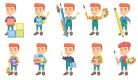 Little caucasian boy vector illustrations set. Royalty Free Stock Photography