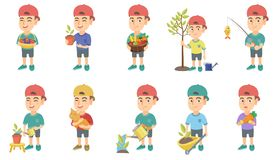 Little caucasian boy vector illustrations set. Little caucasian boy set. Boy holding the basket with strawberry, blueberry, fruit, vegetables, watering plant Royalty Free Stock Images
