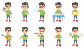 Little caucasian boy vector illustrations set. Royalty Free Stock Photo