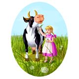 Little caucasian girl feeds cow. On the meadow Stock Photo