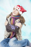 Little caucasian girl getting frozen Royalty Free Stock Image