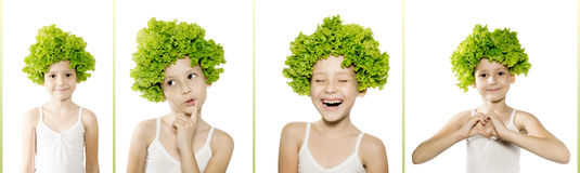 Little caucasian girl with green salad on her head shows differe Stock Photos