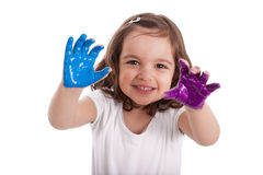 Little caucasian girl with hands painted Stock Image
