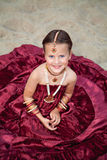 Little caucasian girl in oriental clothing Stock Images