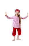 Little caucasian girl posing on white Royalty Free Stock Photo
