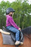 Little Caucasian girl is riding a brown horse. Profile photo Stock Images