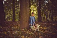 Little caucasian girl running around the autumn park with the dogs. Little caucasian girl running around autumn park with the dogs stock photography