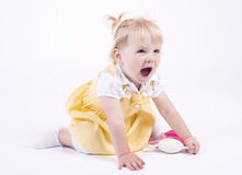 Little caucasian girl screeming Stock Image