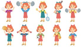 Little caucasian girl vector illustrations set. Royalty Free Stock Photos