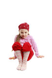 little caucasian girl sit and posing on white Royalty Free Stock Images