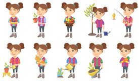 Little caucasian girl vector illustrations set. Little caucasian girl set. Girl holding flower in a pot, cat, carrot, fishing rod with fish, pushing wheelbarrow Stock Image