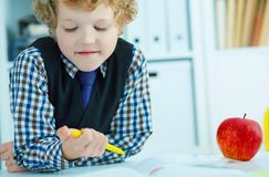 Little Caucasian schoolboy writing in a notebook sitting at a table . Red apple lies next to the table. Time for lunch. Little Caucasian schoolboy writing in a Stock Photo