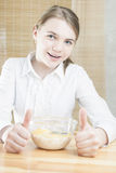 Little Caucasian Teenager Girl Having Cereal Breakfast Stock Photo