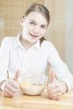 Little Caucasian Teenager Girl Having Cereal Breakfast Stock Photo