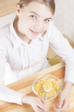 Little Caucasian Teenager Girl Having Cereal Breakfast Royalty Free Stock Images