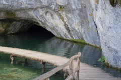 Little cave in Plitvice national Park stock photo